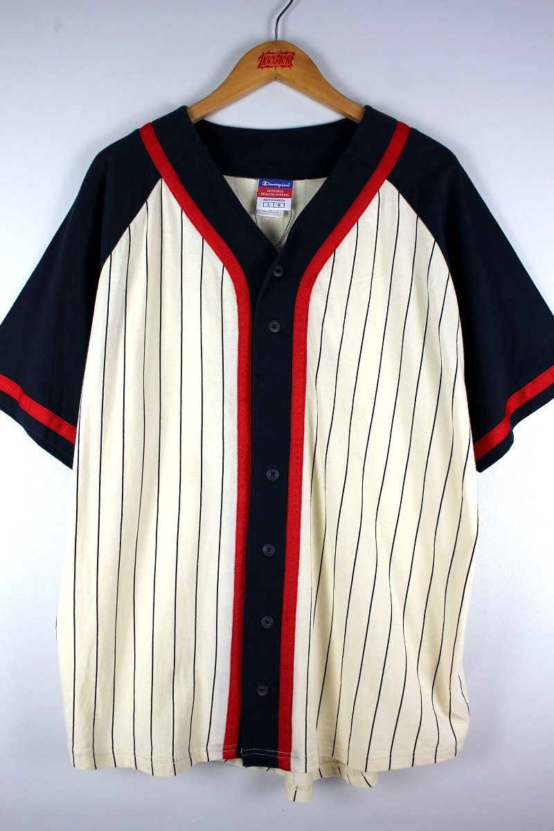 USED!!! CHAMPION / COTTON BASEBALL JERSEY (90'S) / navy×off white×red