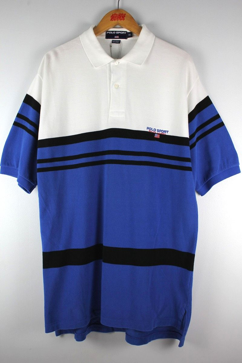 USED!!! POLO SPORT / BORDER POLO SHIRTS (90'S) / white×black×blue