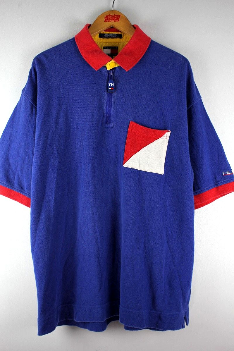 USED!!! TOMMY HILFIGER / HALF-ZIP POLO SHIRTS (90'S) / blue×red×white×yellow