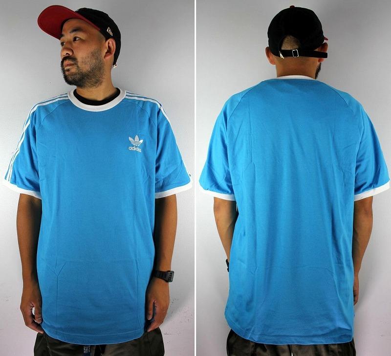 adidas ORIGINALS / 3-STRIPES RAGLAN Tee / light blue×white
