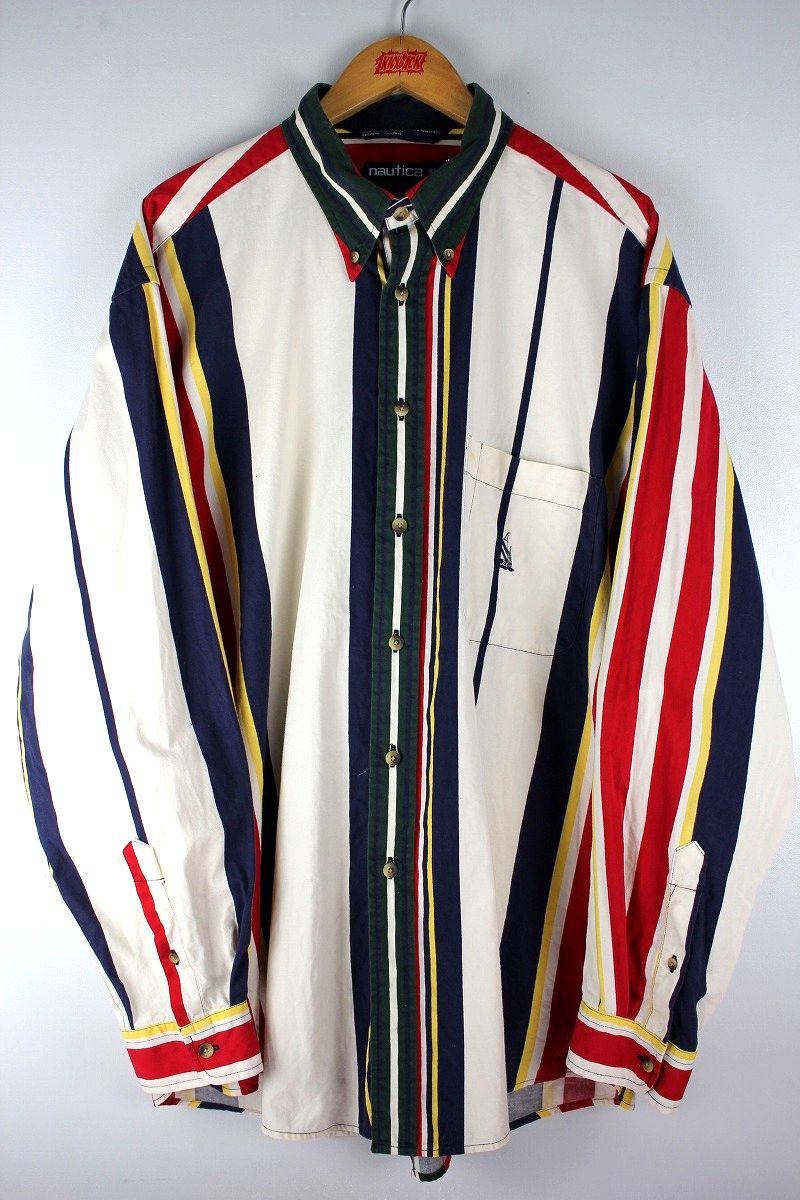USED!!! NAUTICA / STRIPED BUTTON DOWN SHIRTS (90'S) / white×navy×yellow×red