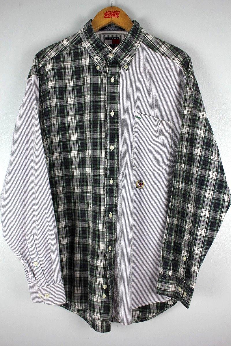 USED!!! TOMMY HILFIGER / SEERSUCKER BUTTON DOWN SHIRTS (90'S)
