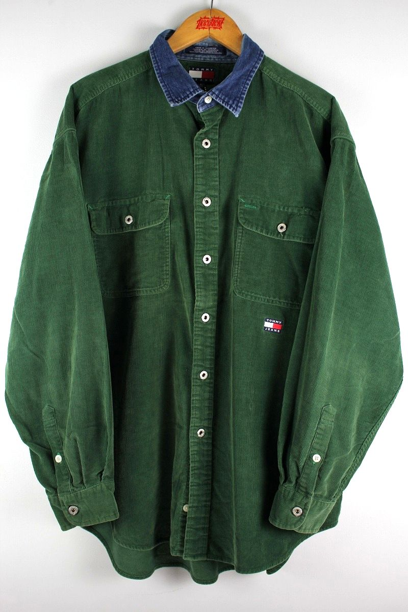 USED!!! TOMMY HILFIGER / LS CORDUROY SHIRTS (90'S) / green