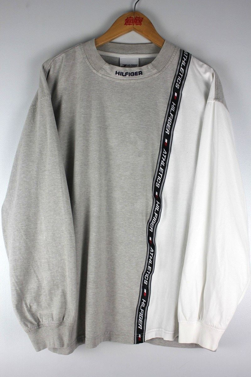 USED!!! TOMMY HILFIGER / LOGO TAPE LS Tee (90'S) / heather grey×white