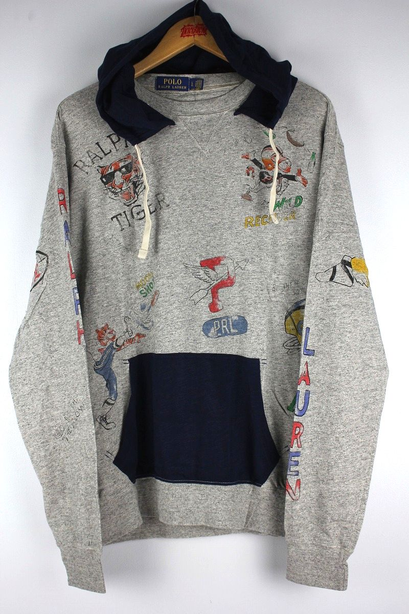 POLO RALPH LAUREN / LIGHT WEIGHT GRAPHIC HOODY / heather grey×navy