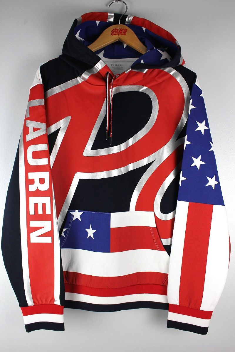 "POLO RALPH LAUREN / ""US FLAG"" ALLOVER PRINT SWEAT HOODY"