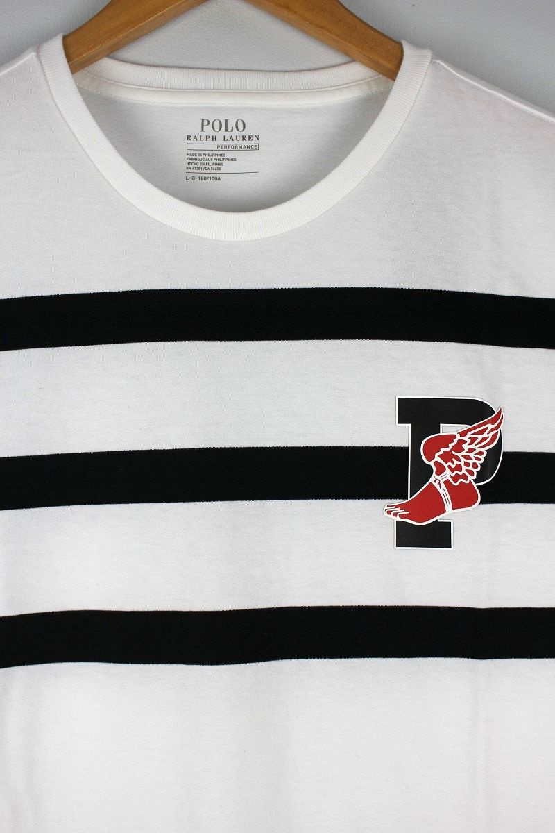 "POLO RALPH LAUREN / ""P-WING"" BORDER Tee / white×black"