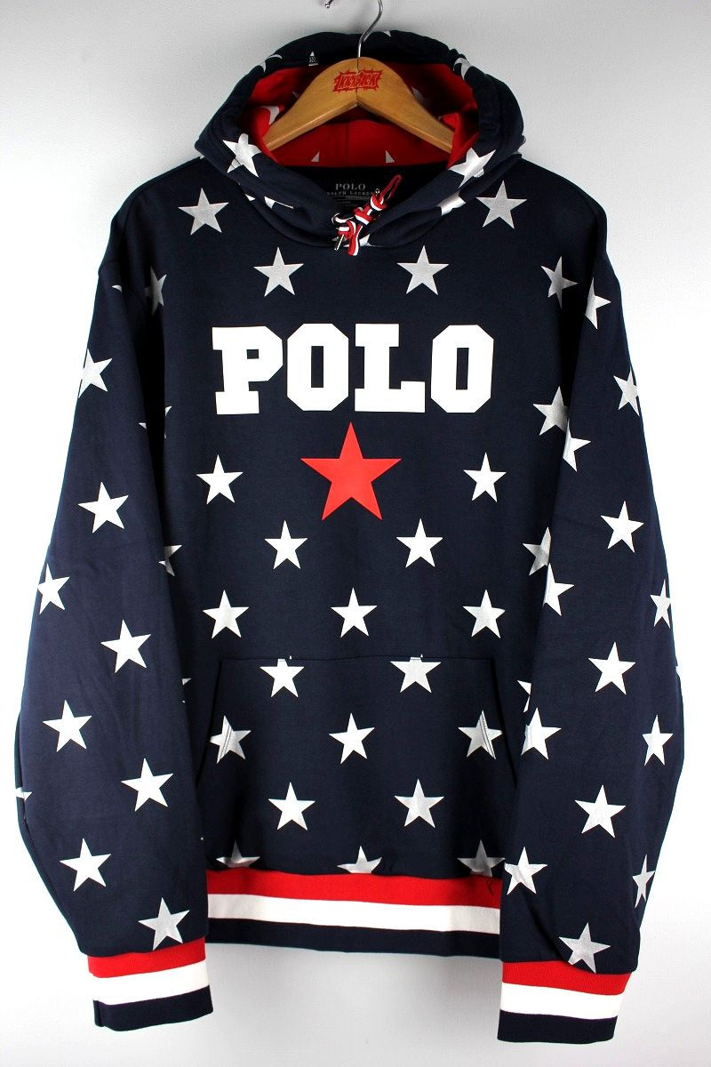"POLO RALPH LAUREN / ""STAR"" ALLOVER PRINT SWEAT HOODY / navy"