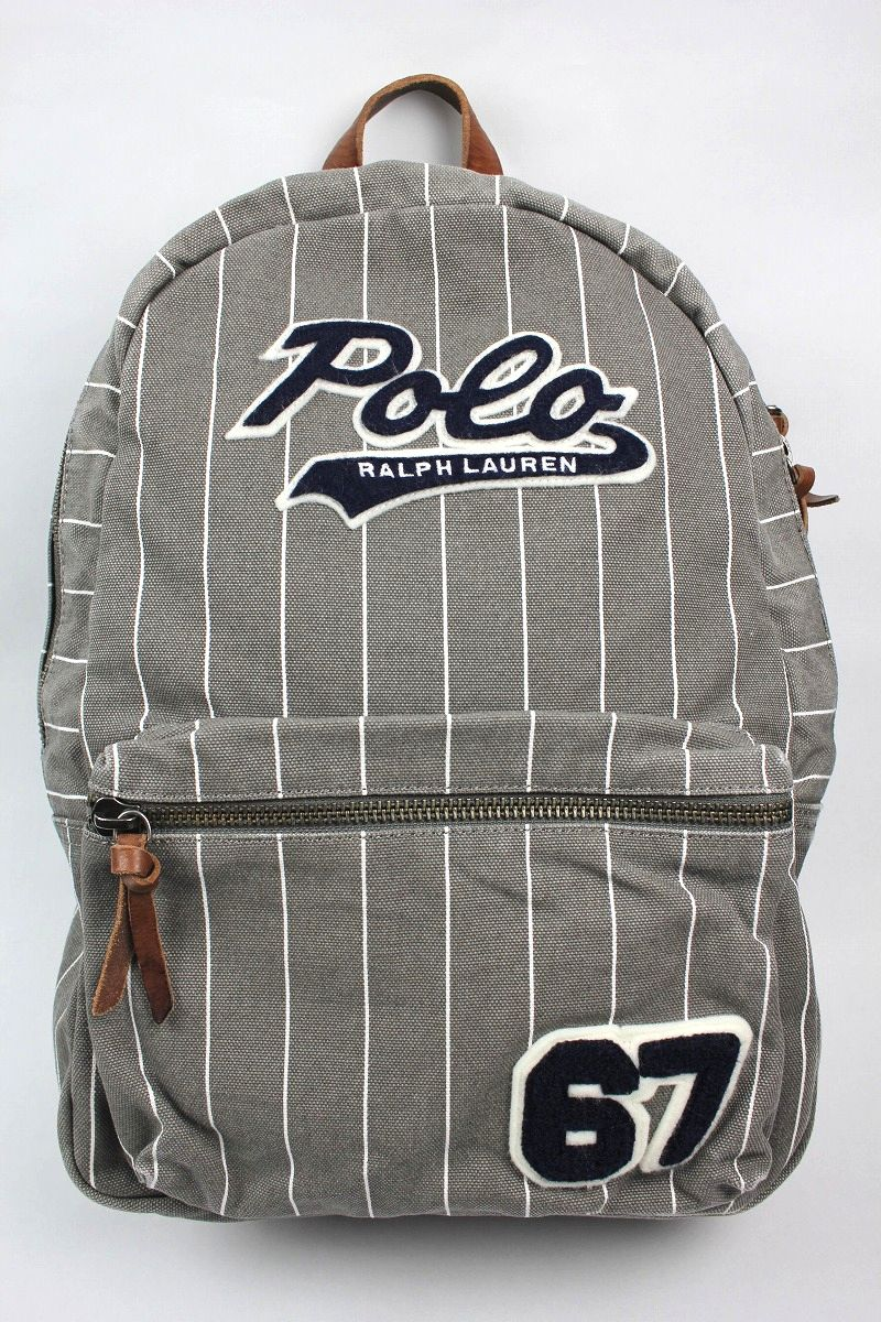 POLO RALPH LAUREN / COTTON BASEBALL BACKPACK / grey×white