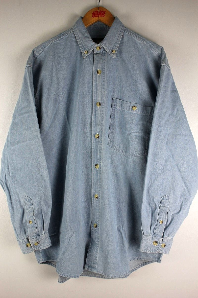 COBRA CAPS / RELAX FIT LS DENIM SHIRTS / stonewash indigo