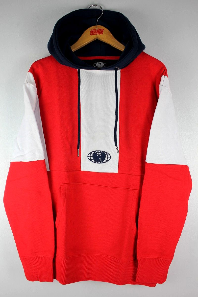 WU WEAR / COLOR BLOCK PULLOVER SWEAT HOODY / white×red×navy