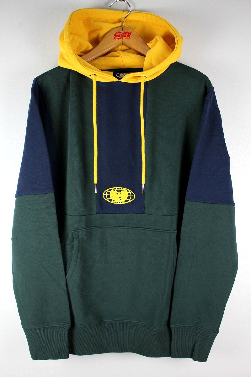 WU WEAR / COLOR BLOCK PULLOVER SWEAT HOODY / navy×green×yellow