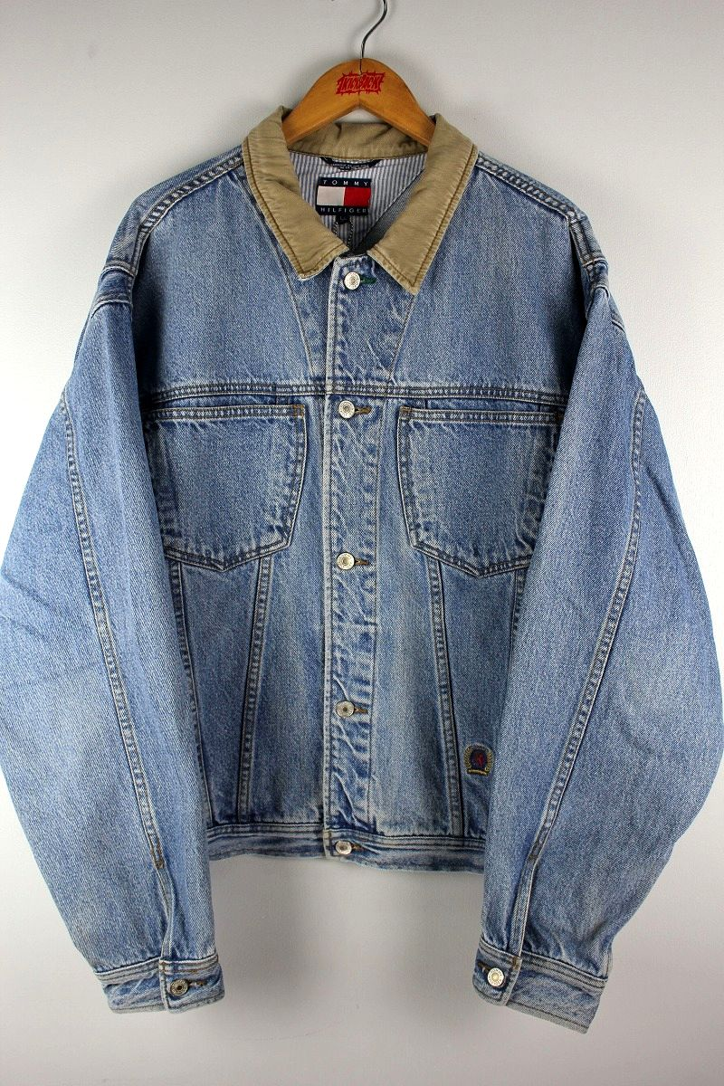 USED!!! TOMMY HILFIGER / DENIM JACKET (90'S) / stone wash indigo