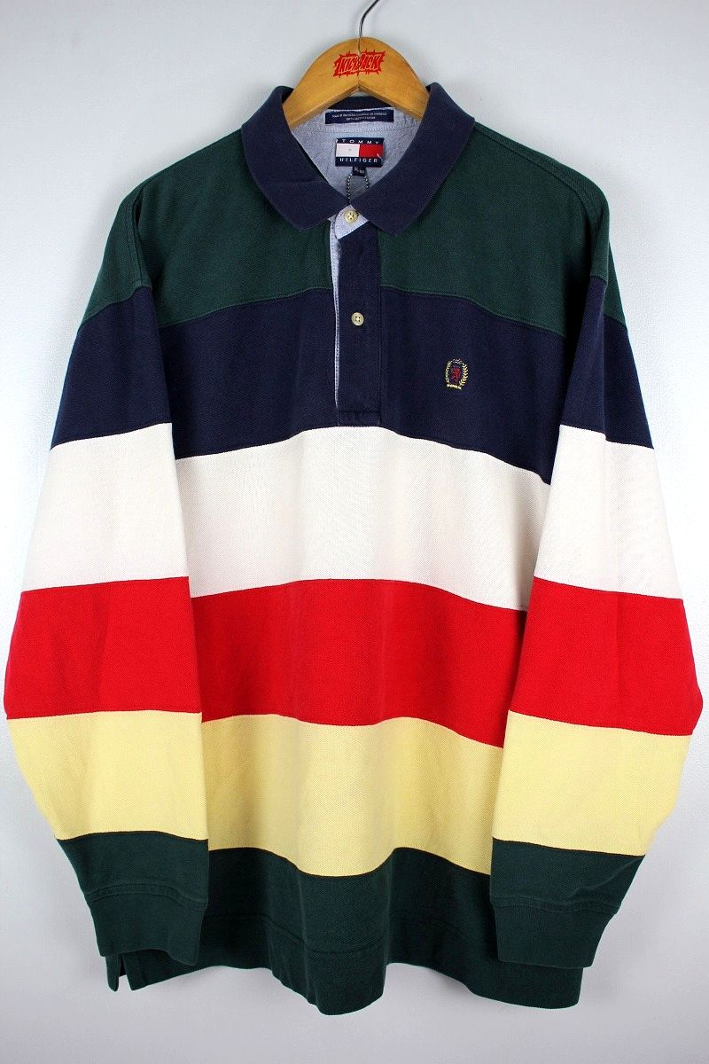 USED!!! TOMMY HILFIGER / LS BORDER POLO SHIRTS (90'S) / multi