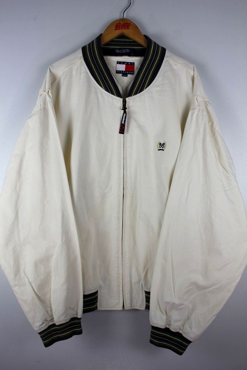 USED!!! TOMMY HILFIGER / TENNIS JACKET (90'S) / off white