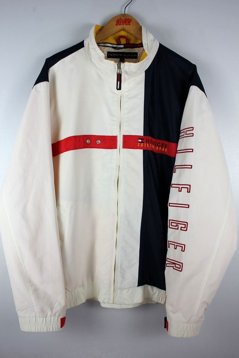 USED!!! TOMMY HILFIGER / SAILING JACKET (90'S) / white×navy×red