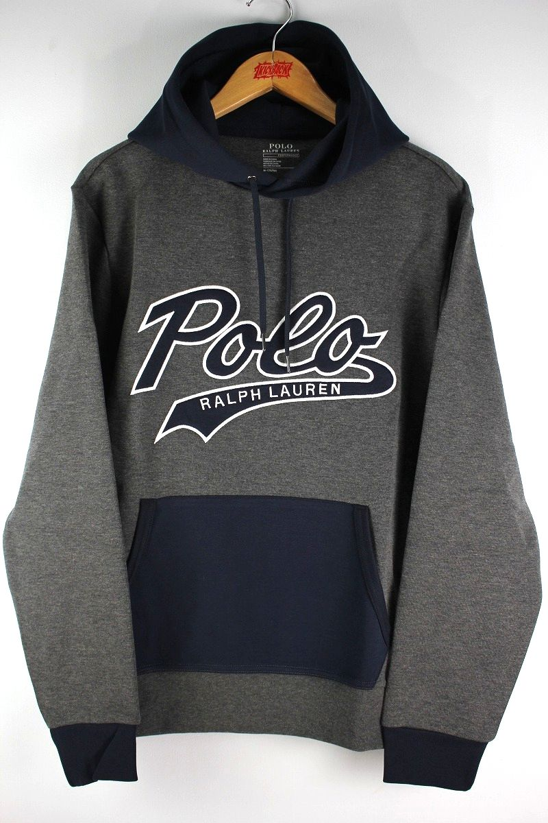 POLO RALPH LAUREN / SCRIPT LOGO PULLOVER SWEAT HOODY / charcoal heather×navy
