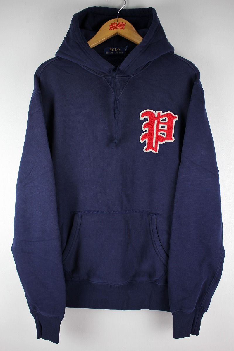 "POLO RALPH LAUREN / ""OLD P"" PULLOVER SWEAT HOODY / navy"