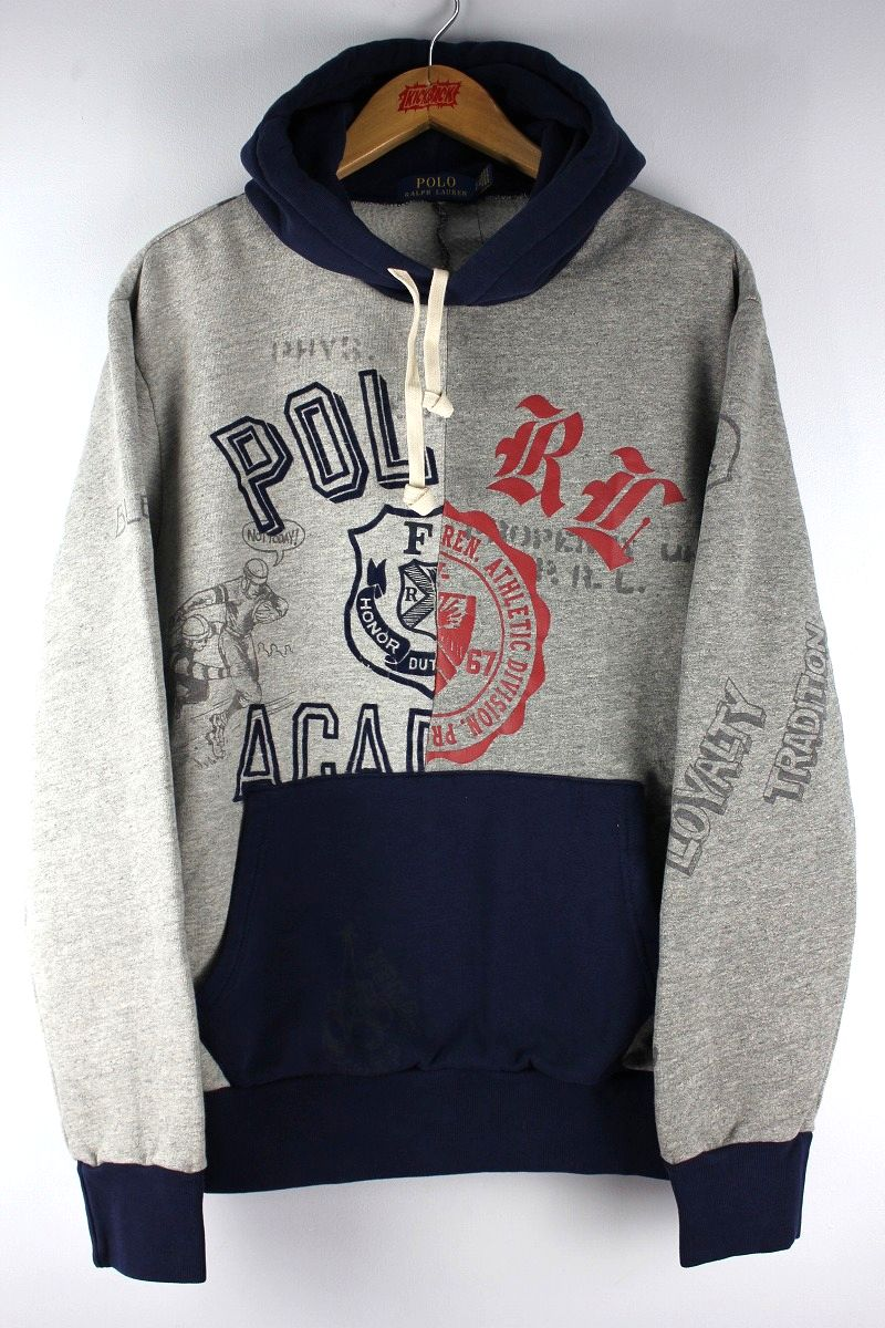 POLO RALPH LAUREN / PATCHWORK PULLOVER SWEAT HOODY / heather grey×navy