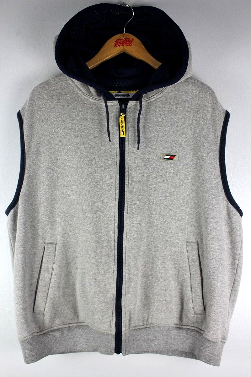 USED!!! TOMMY HILFIGER / ZIP-UP SWEAT HOODY VEST (90'S) / heather grey×navy