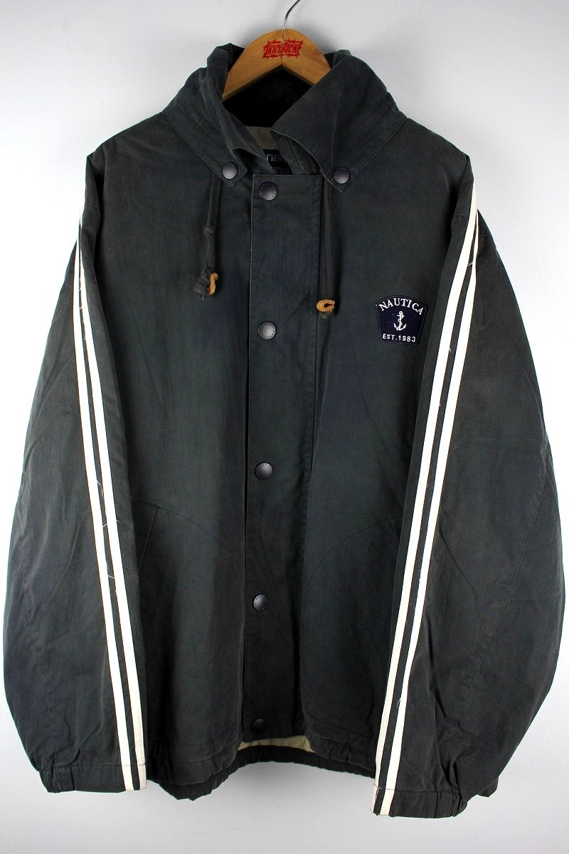 USED!!! NAUTICA / LONG LENGTH SAILING JACKET (90'S) / washed black