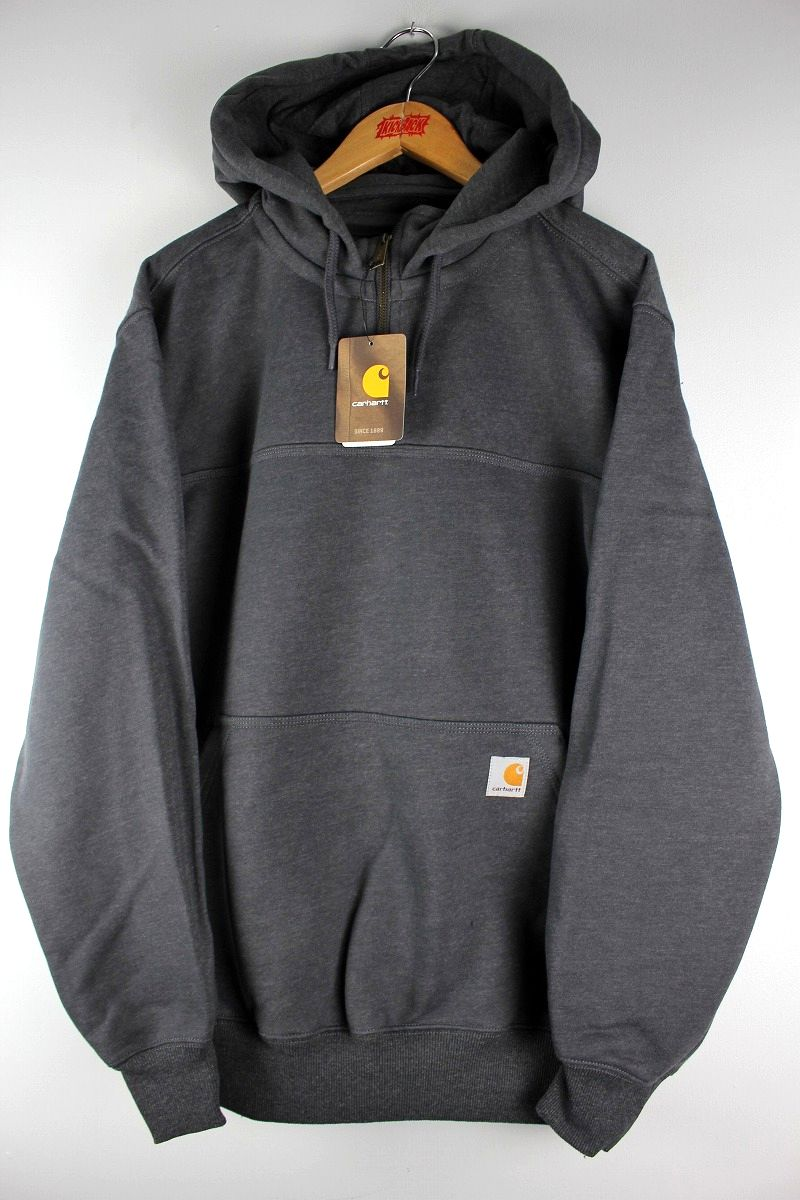 CARHARTT / RAIN DEFENDER® PAXTON HEAVYWEIGHT HOODED ZIP MOCK SWEATSHIRT / heather chacoal