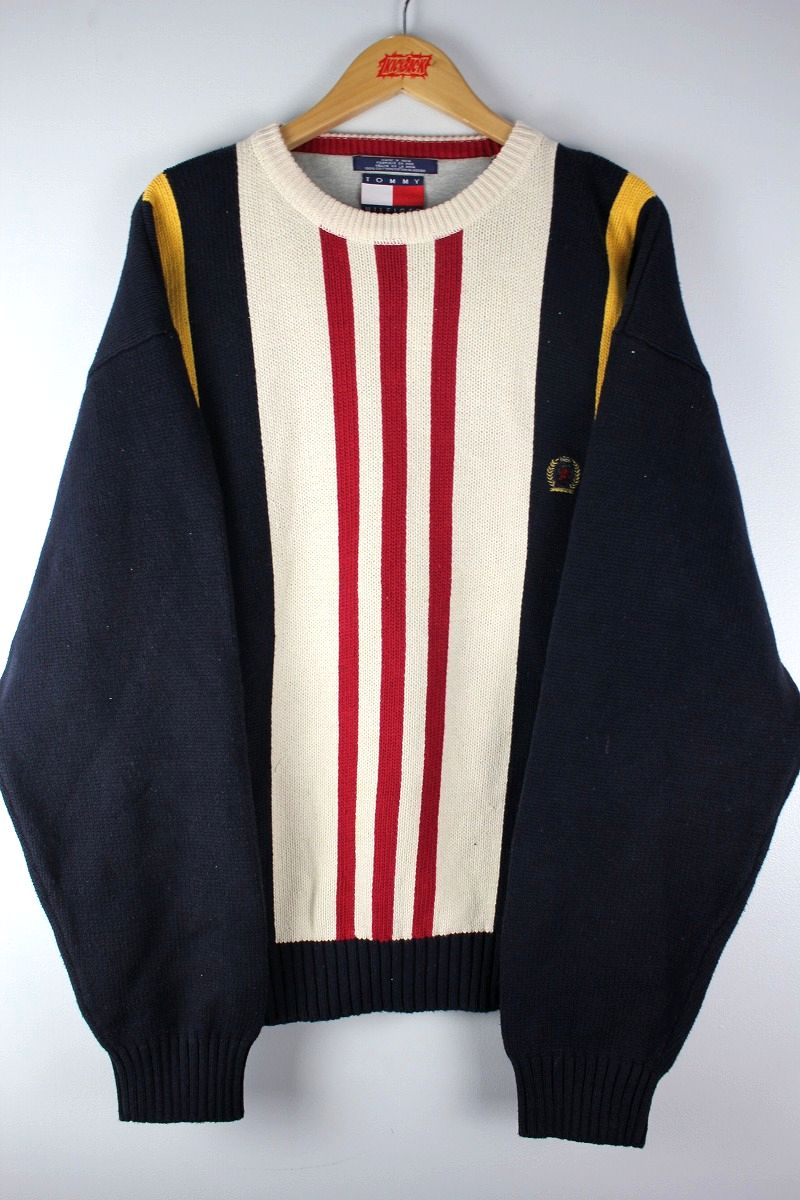 USED!!! TOMMY HILFIGER / COTTON KNIT STRIPE SWEATER (90'S) / white×red×navy×yellow