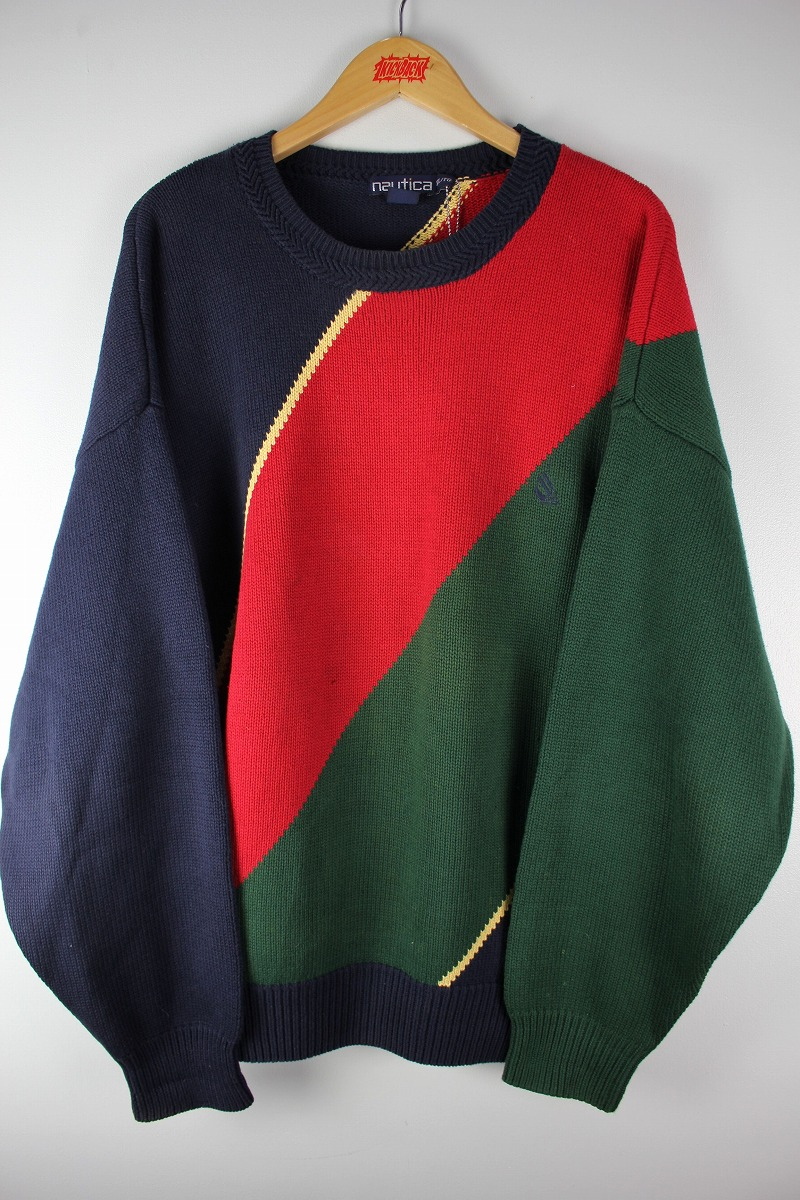 USED!!! NAUTICA / COTTON KNIT SWEATER (90'S) / navy×yellow×red×green