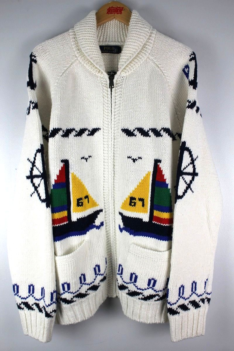 "POLO RALPH LAUREN / ""YACHT"" COTTON FULL-ZIP SWEATER / white"