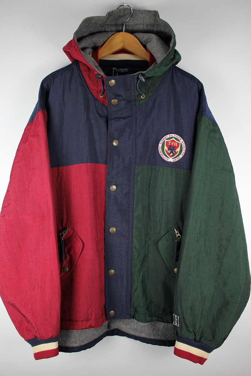 USED!!! TOMMY HILFIGER / COLOR-BLOCK MOUNTAIN JACKET (90'S) / navy×green×dark red