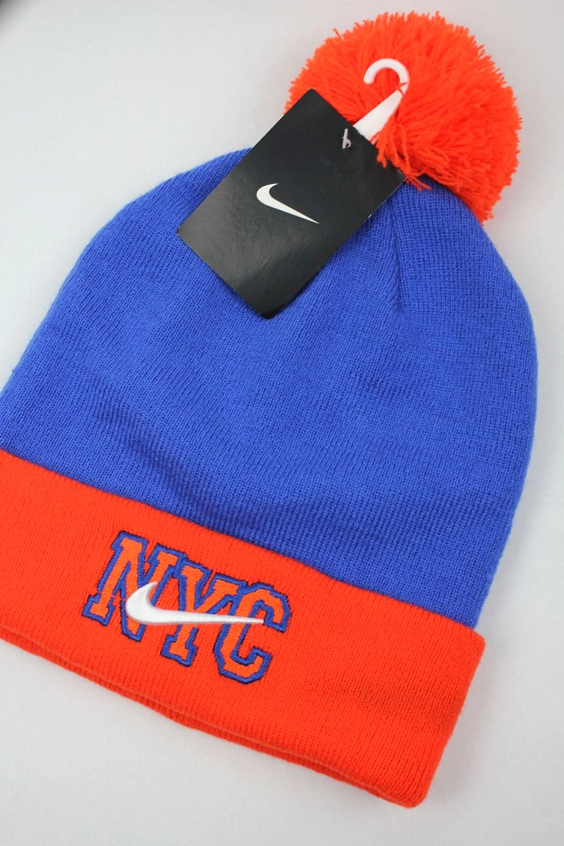 "NIKE / ""NYC"" POM POM KNIT BEANIE / blue×orange"