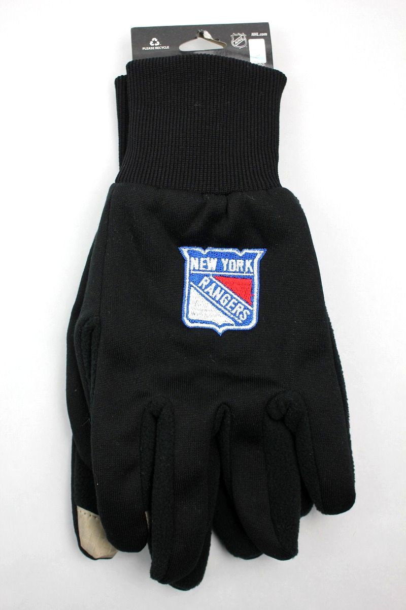 "FOREVER COLLECTIBLES / ""NEWYORK RANGERS"" TEXTING GLOVES / black"