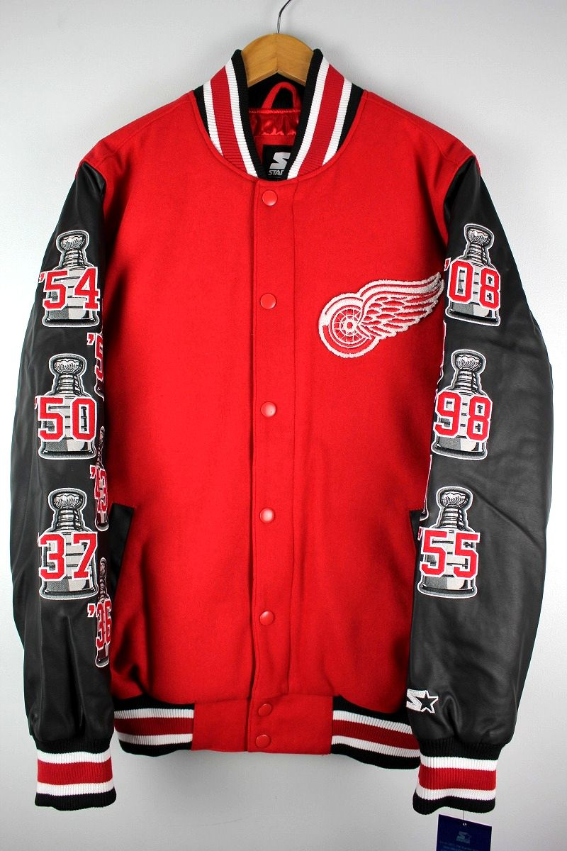 "STARTER BLACK LABEL / ""DETROIT RED WINGS"" STANLEY CUP CHAMPION STADIUM JACKET / red×black"