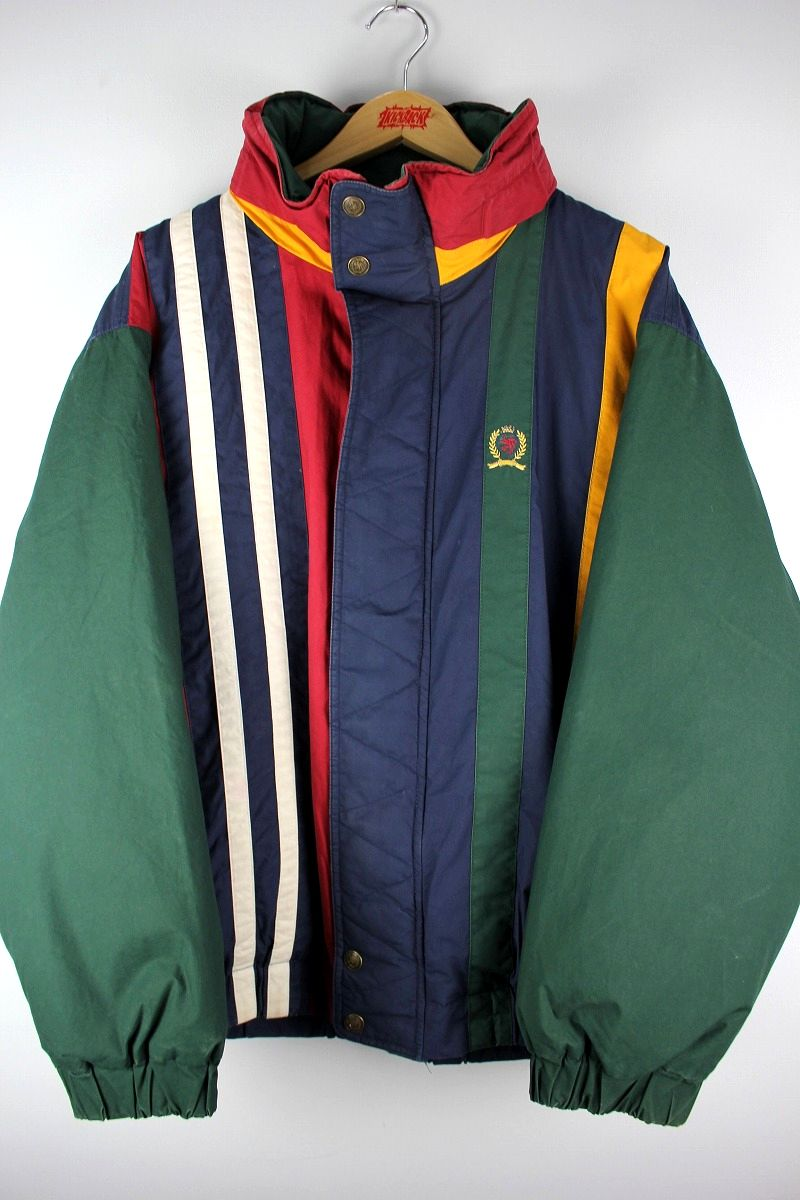 USED!!! TOMMY HILFIGER / STRIPED COTTON PUFF JACKET (90'S) / multi