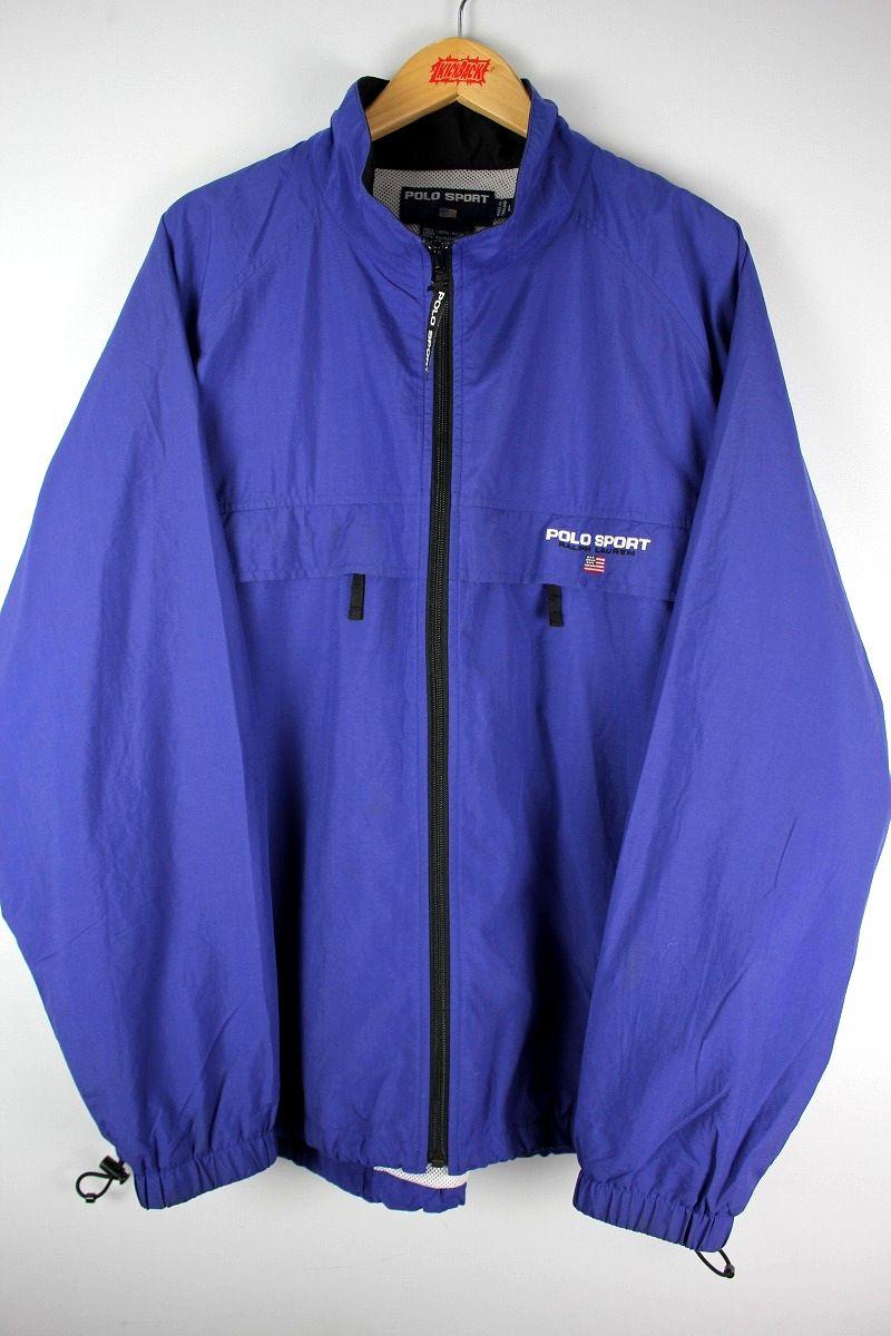 90'S VINTAGE!!! POLO SPORT / MESH LINER NYLON JACKET / blue purple