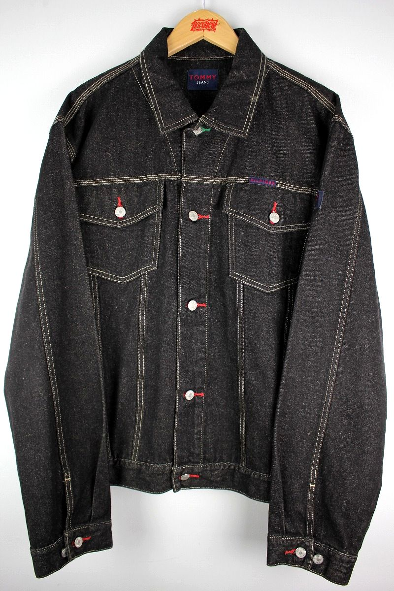 USED!!! TOMMY HILFIGER / DENIM JACKET (90'S) / black