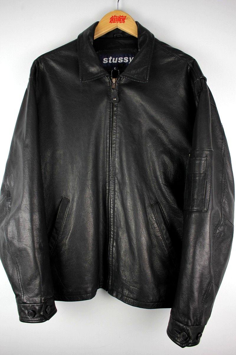 USED!!! STUSSY / LEATHER JACKET (90'S) / black