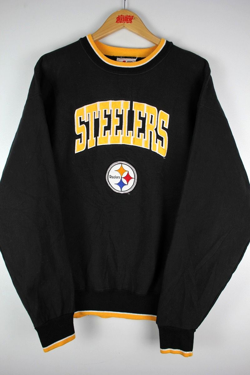"""USED!!! LEGENDS ATHLETIC / """"PITTSBURGH STEELERS"""" CREWNECK SWEAT (90'S) / black×yellow"""