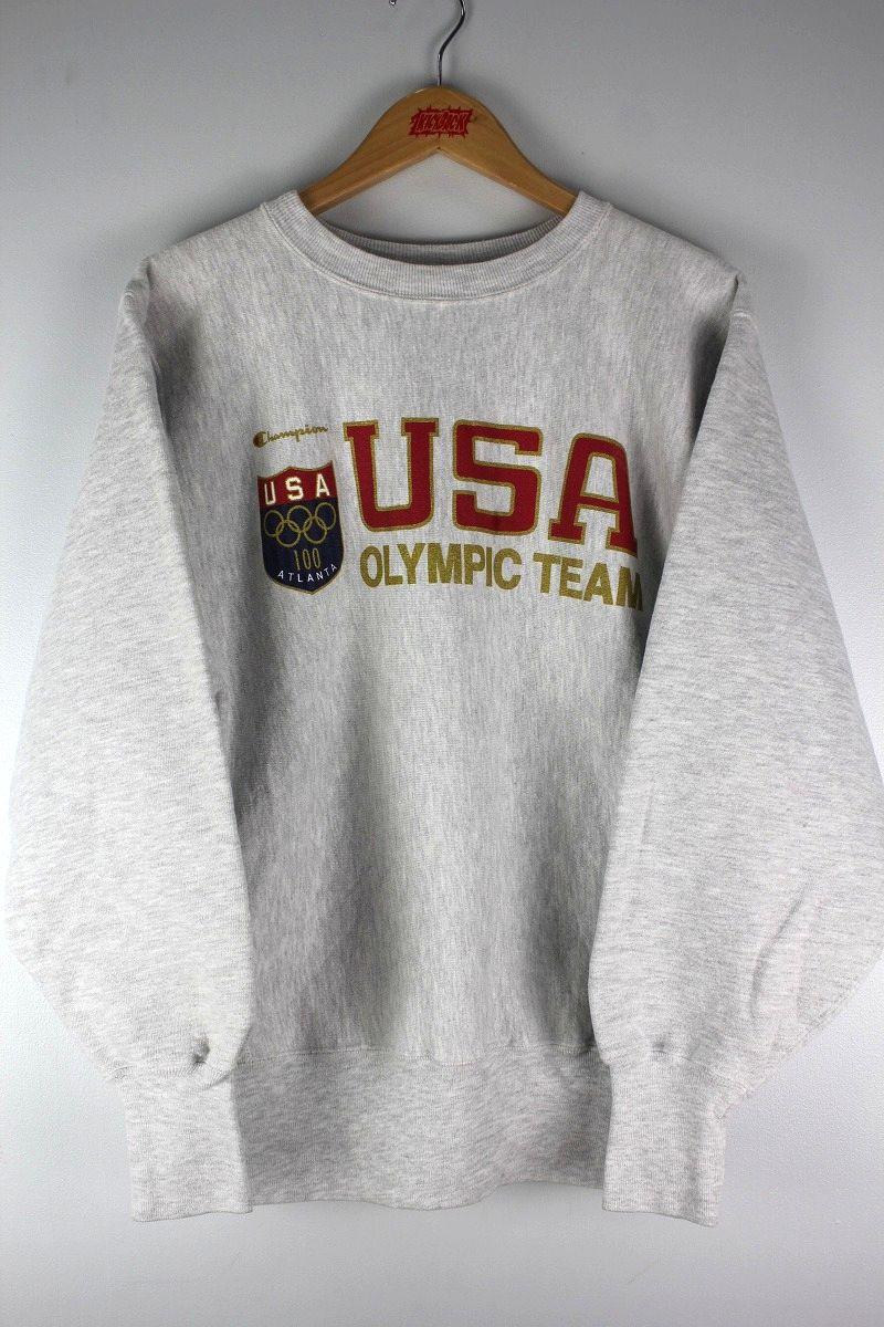"USED!!! CHAMPION / ""USA OLYMPIC TEAM"" REVERSE WEAVE CREWNECK SWEAT (90'S) / light heather grey"