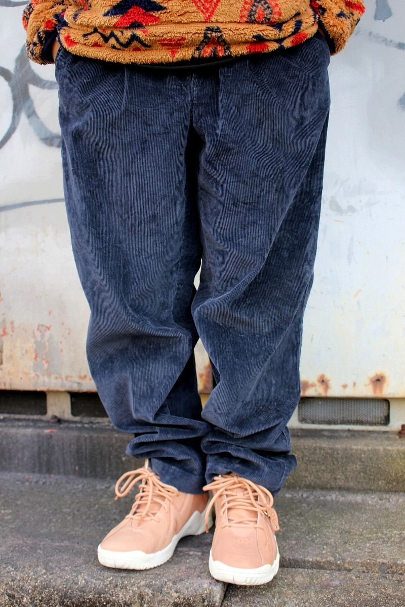 USED!!! TOMMY HILFIGER / TWO-TUCK CORDUROY PANTS (90'S) / navy