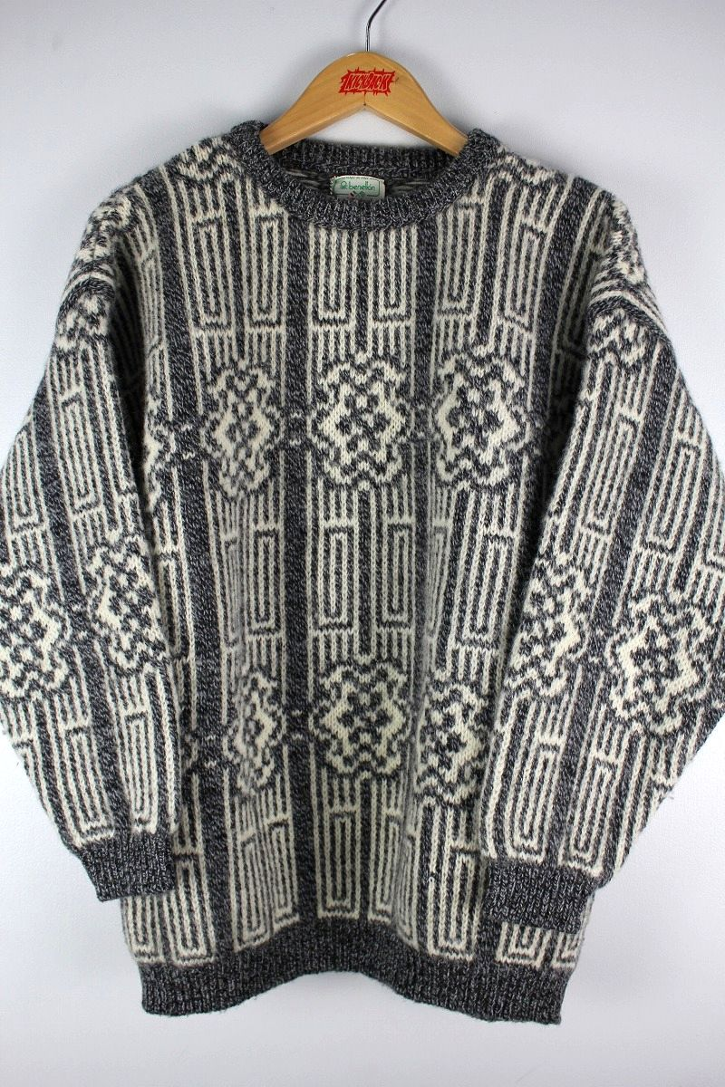 USED!!! BENETTON / WOOL KNIT SWEATER (90'S) / grey×white