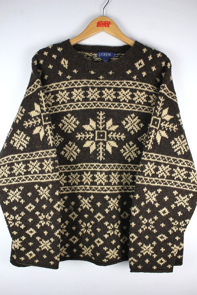 USED!!! J.CREW / SNOW PATTERN WOOL KNIT SWEATER (90'S) / cocoa×cream