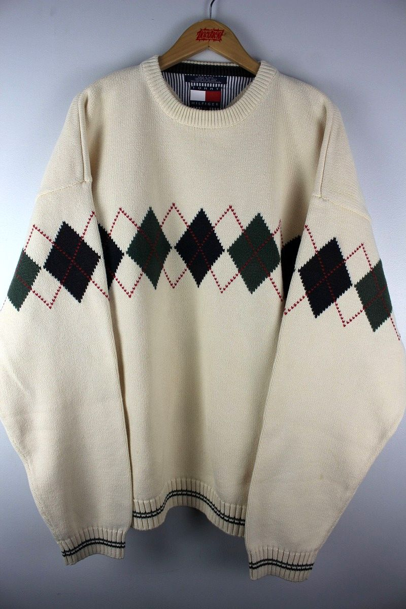 """USED!!! TOMMY HILFIGER / """"ARGYLE"""" COTTON KNIT SWEATER (90'S) / off white"""