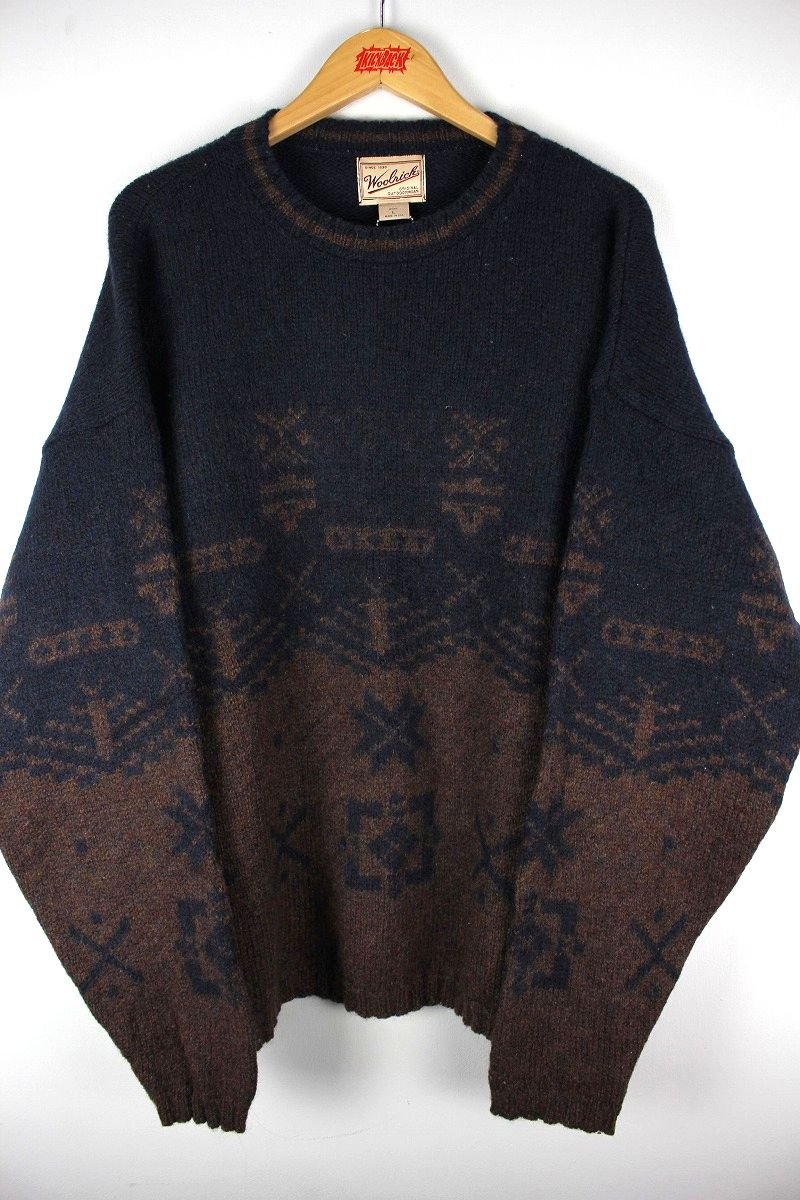 USED!!! WOOLRICH / NATIVE PATTERN WOOL KNIT SWEATER (90'S) / navy×brown