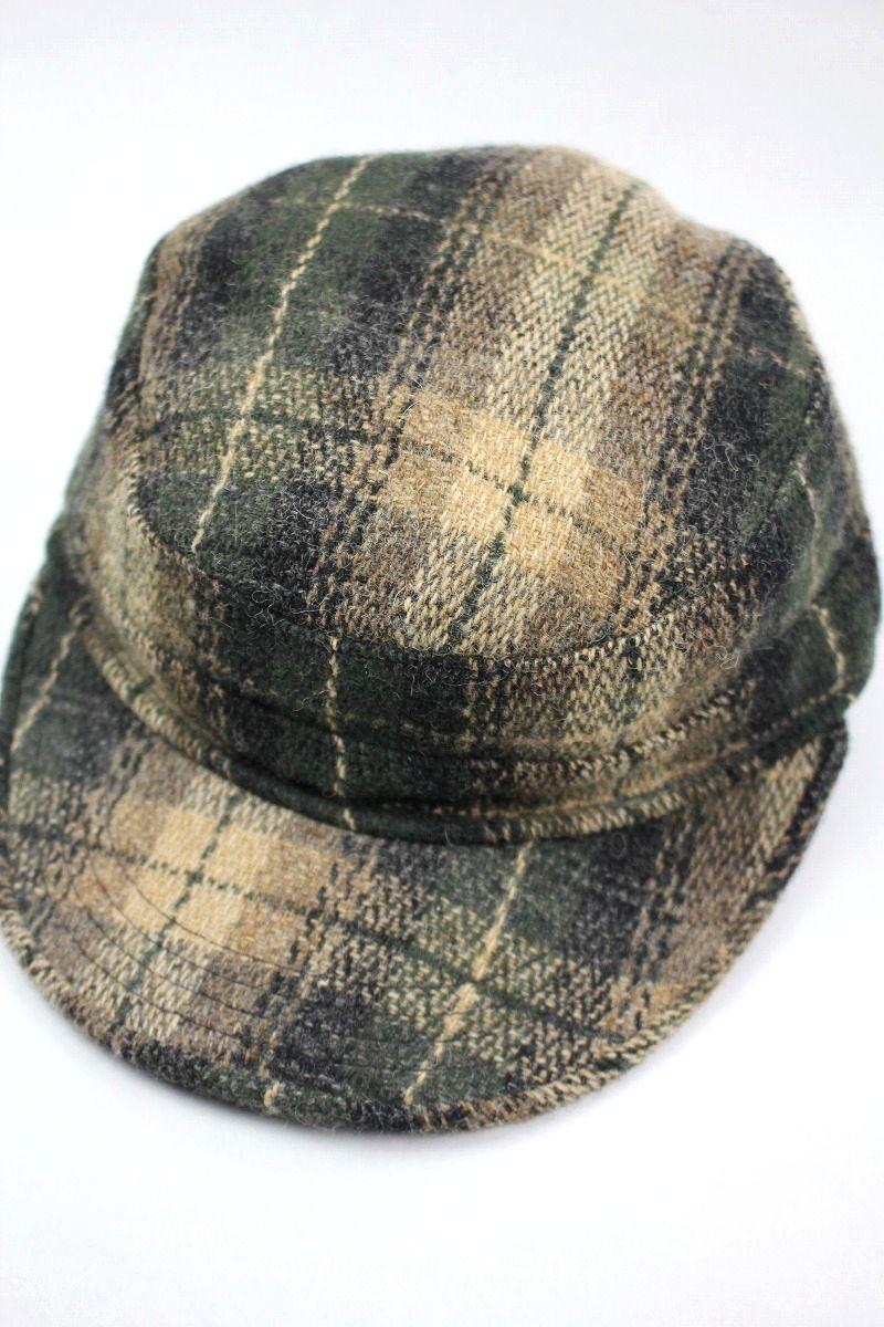 USED!!! NEWYORK HAT / OMBLE PLAID WOOL WORK CAP (90'S)