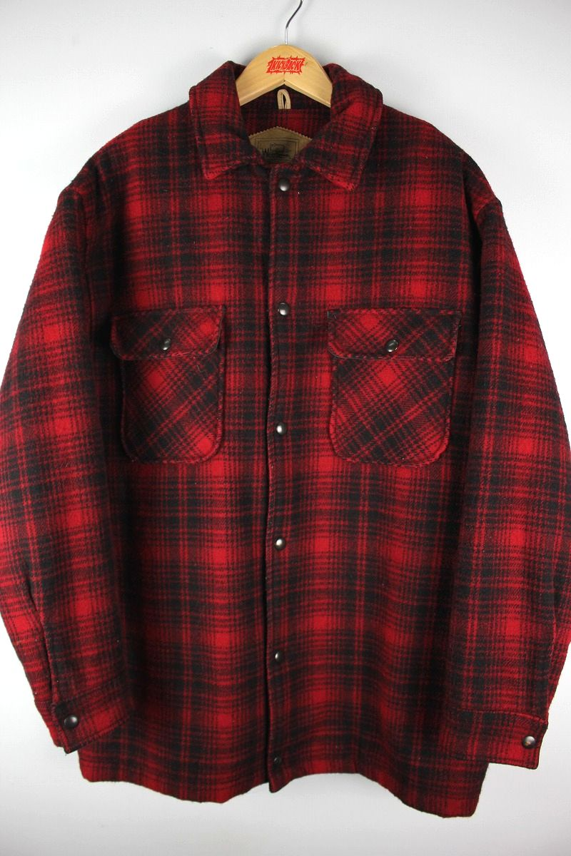 USED!!! WOOLRICH / OMBRE PLAID BOA LINER WOOL COAT (90'S) / red×black