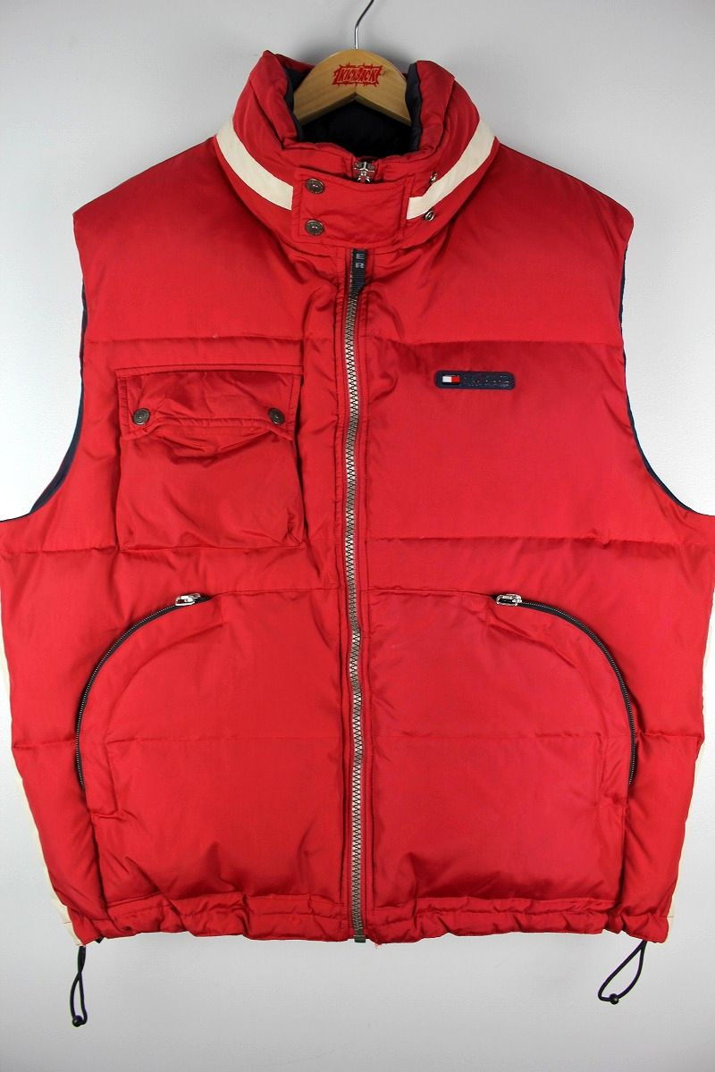 USED!!! TOMMY HILFIGER / DOWN VEST (90'S) / red