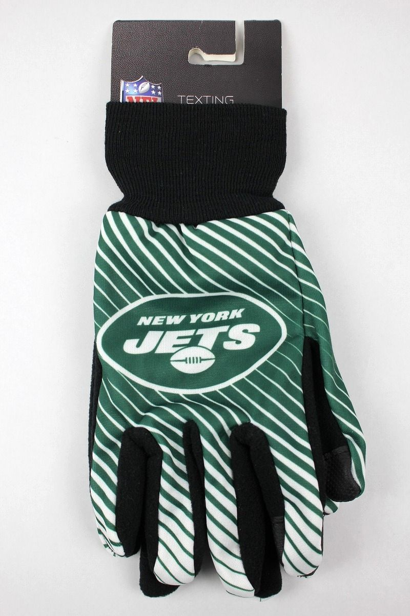 "FOREVER COLLECTIBLES / ""NEWYORK JETS"" TEXTING GLOVES / green×white×black"