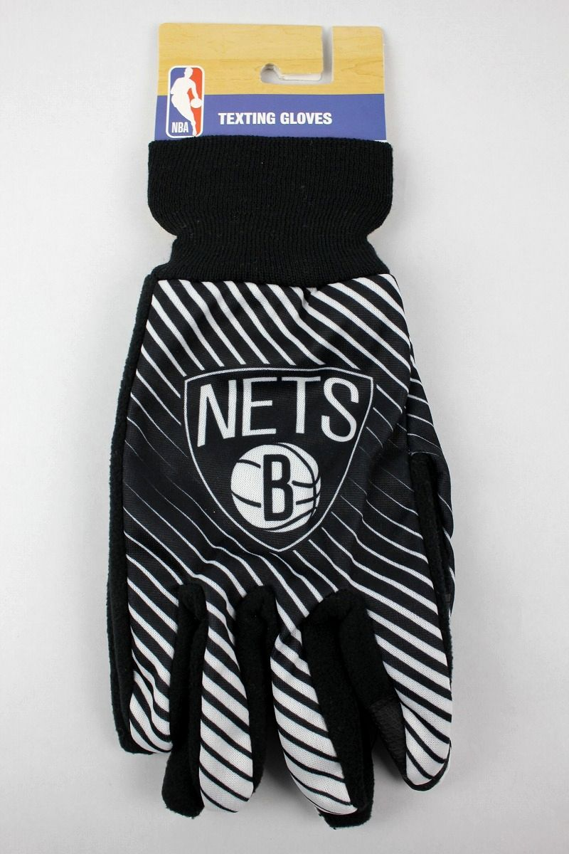 "FOREVER COLLECTIBLES / ""BROOKLYN NETS"" TEXTING GLOVES / black×white"