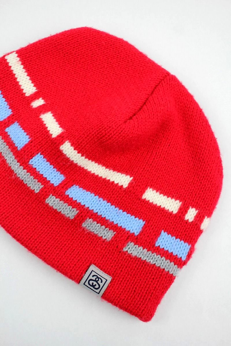 USED!!! STUSSY / ACRYLIC KNIT BEANIE (90'S) / red